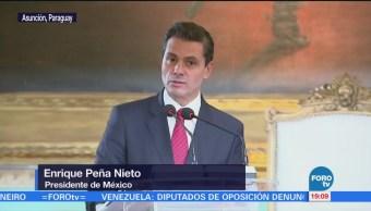 EPN realiza actividades de su visita oficial a Paraguay