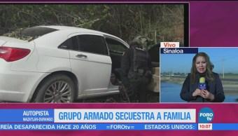 Grupo armado secuestra a una familia sobre la autopista Mazatlán-Durango