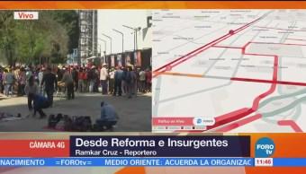 Manifestantes complican tránsito sobre Reforma e Insurgentes