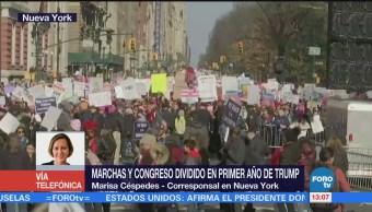Marchas y Congreso dividido en primer año de Trump