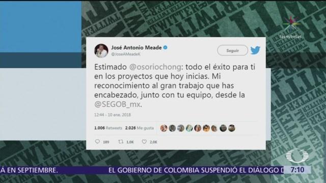Meade desea éxito a Osorio Chong en sus proyectos futuros