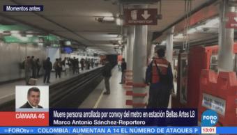 Muere persona arrollada por convoy del Metro en estación Bellas Artes