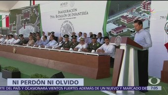 Ni perdón ni olvido a criminales, dice Peña Nieto