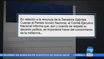 PAN respeta decisión de Gabriela Cuevas