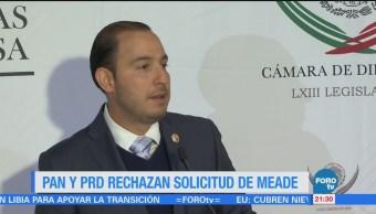 PAN y PRD rechazan solicitud de Meade