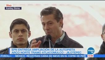 Peña Nieto entrega ampliación de la autopista Arco Norte, tramo Atlajomulco-Jilotepec