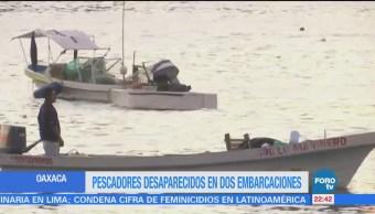 Pescadores desaparecidos en dos embarcaciones en Oaxaca
