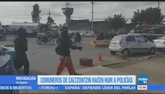 Pobladores de Caltzontzin se enfrentan con policías