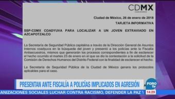 Presentan Fiscalía Policías Implicados Agresión CDMX