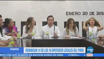 Renuncian 14 16 Diputados Locales Pvem Chiapas