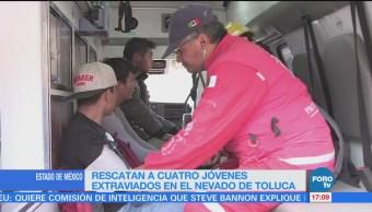 Rescatan a jóvenes extraviados en el Nevado de Toluca