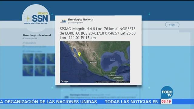 Se registra sismo de magnitud preliminar 4.7 en Baja California Sur