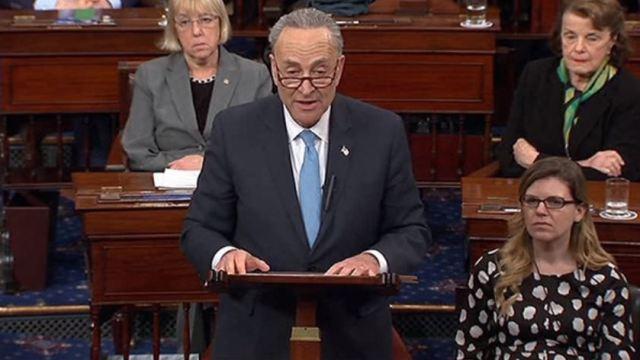 Muchos republicanos se oponen al muro, asegura líder demócrata en el Senado