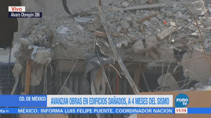 Avanzan obras en edificios dañados tras sismo del 19S