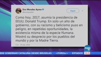 Trump puso en peligro la existencia de la especie humana: Evo Morales