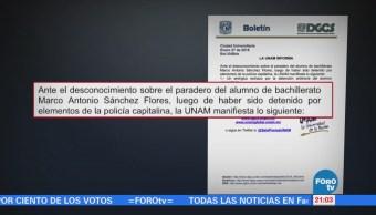 UNAM emite comunicado sobre joven desaparecido detenido por policías