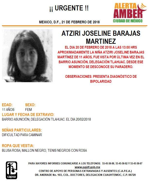 Activan Alerta Ámber para localizar a Atziri Joseline Barajas Martínez