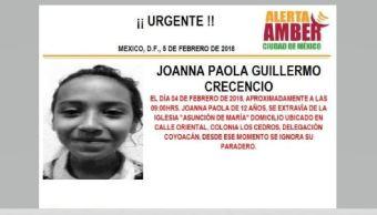 Activan Alerta Ámber para localizar a menor extraviada en Coyoacán