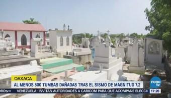 Al menos 300 tumbas dañadas tras sismo en Oaxaca