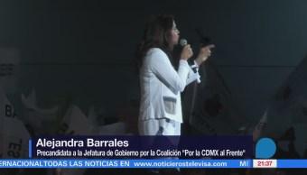 Alejandra Barrales se reúne con sindicalistas