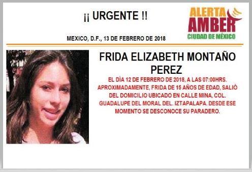 Activan Alerta Ámber para localizar a Frida Montaño