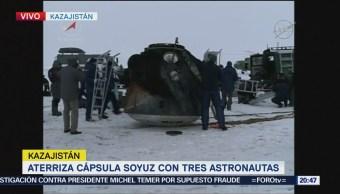 Aterriza la cápsula Soyuz con tres astronautas