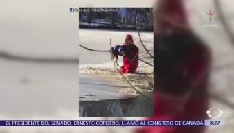 Bombero rescata a perro en Massachusetts