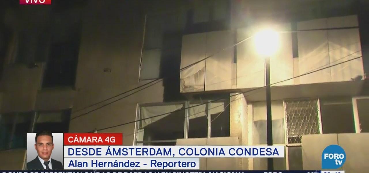 Caída de fachada de edificio en la Condesa no dejó heridos