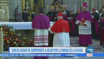 Carlos Aguiar hace la profesión de fe como arzobispo primado de México