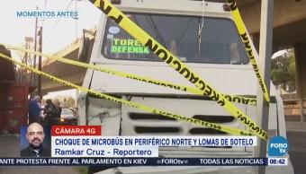 Choque de microbús en Periférico Norte y Lomas de Sotelo