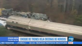 Choque de trenes deja decenas de heridos en Carolina del Sur