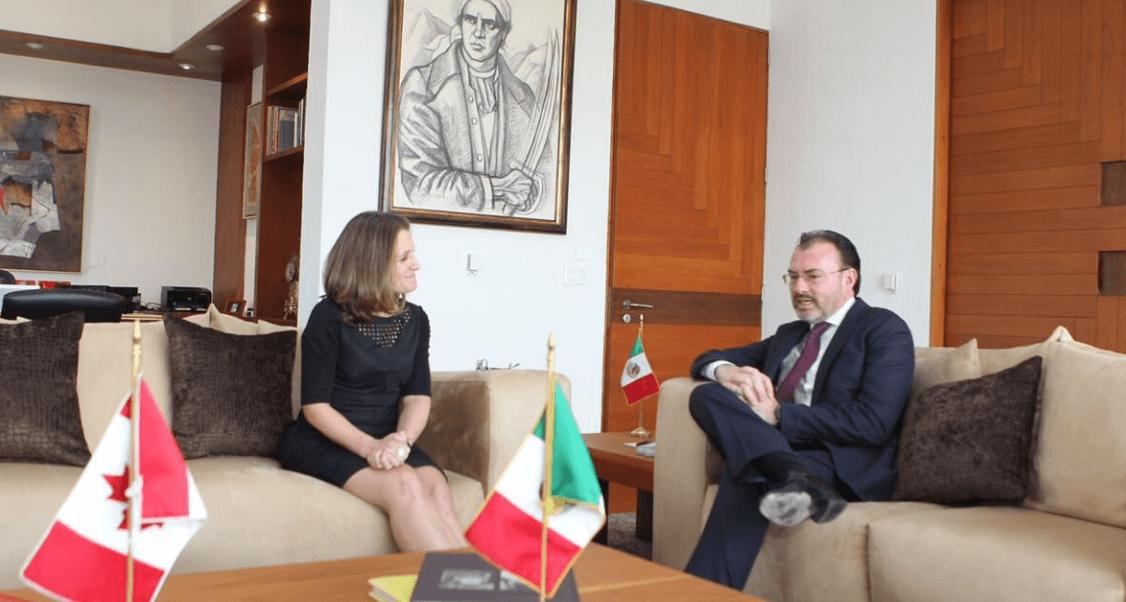 Videgaray se reúne con la ministra de Asuntos Exteriores de Canadá