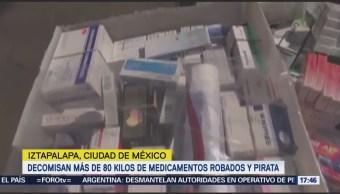 Decomisan más de 80 kilos de medicamentos robados y pirata