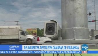 Delincuentes destruyen cámaras de vigilancia Sinaloa