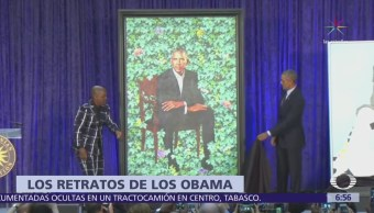 Develan retratos oficiales de los Obama en el Museo Smithsoniano de Washington