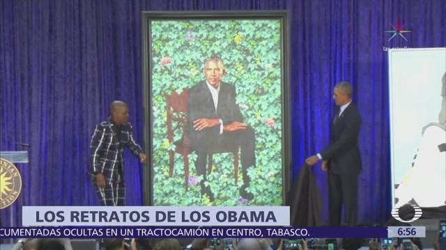 Develan retratos oficiales de los Obama en el Museo Smithsoniano de Washington