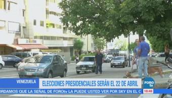 Elecciones presidenciales de Venezuela serán el 22 de abril: CNE