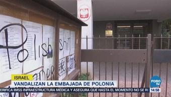 Israel Vandalizan Embajada Polonia