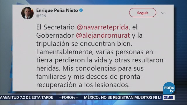 EPN envía sus condolencias a familiares de víctimas del accidente en Oaxaca