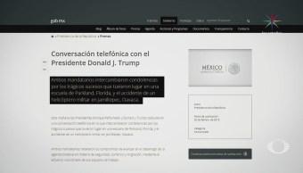EPN y Trump intercambian condolencias vía telefónica