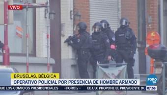 Operativo Presencia Hombre Armado Bruselas Bélgica
