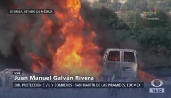 Explosión e incendio en ducto de Pemex en Edomex