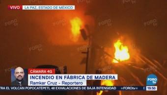 Incendio en fábrica de madera en La Paz Estado de México