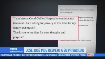 José José pide respeto a su privacidad