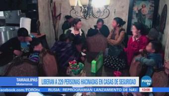 Liberan a 229 personas hacinadas en casas de seguridad en Tamaulipas