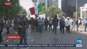 Manifestantes afectan vialidad sobre Paseo de la reforma