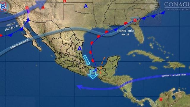 Dos frentes fríos dejarán lluvias y bajas temperaturas en México