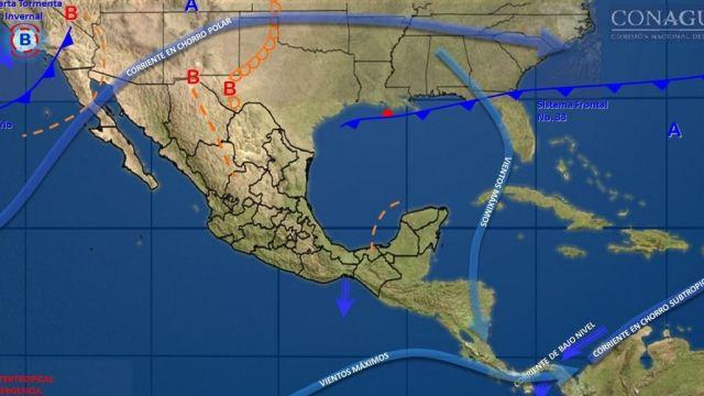 Frente frío 34 y nueva tormenta invernal provocarán bajas temperaturas y aguanieve