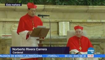 Norberto Rivera ofrece mensaje durante toma de posesión del Arzobispo Aguiar
