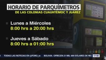 Nuevo Horario Parquímetros Colonias Cuauhtémoc Juárez